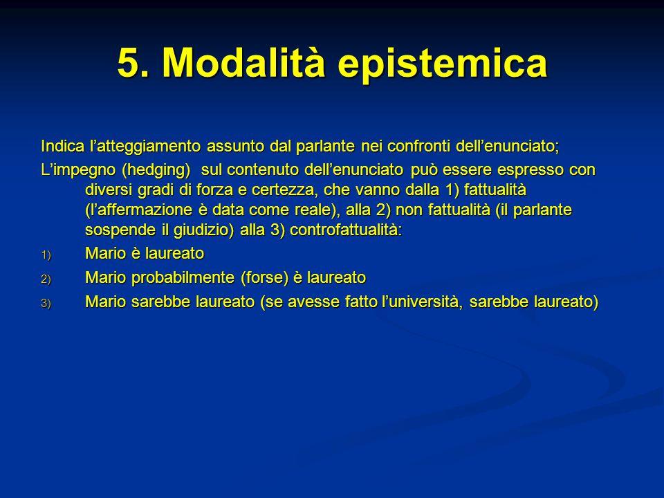 5. Modalità epistemica Indica l'atteggiamento assunto dal parlante nei confronti dell'enunciato; L'impegno (hedging) sul contenuto dell'enunciato può