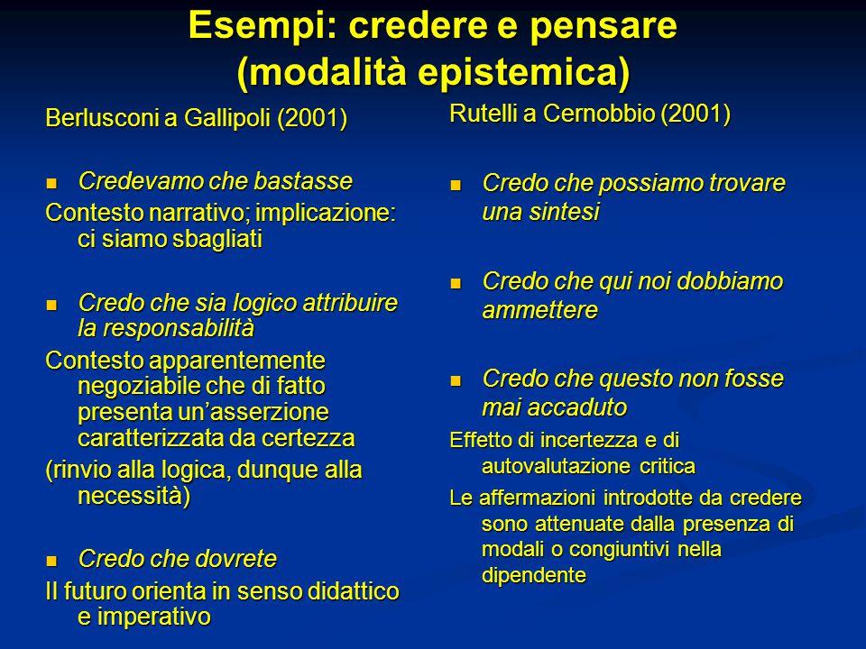 Esempi: credere e pensare (modalità epistemica) Berlusconi a Gallipoli (2001) Credevamo che bastasse Credevamo che bastasse Contesto narrativo; implic