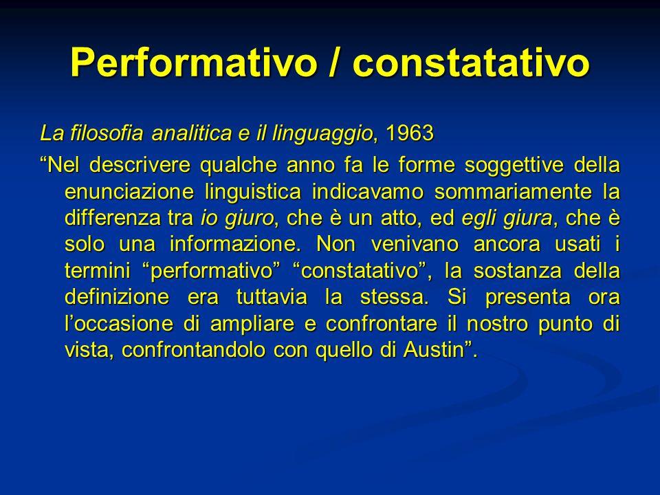 """Performativo / constatativo La filosofia analitica e il linguaggio, 1963 """"Nel descrivere qualche anno fa le forme soggettive della enunciazione lingui"""