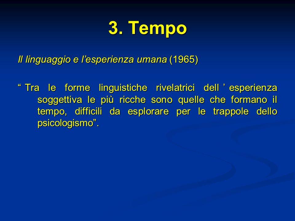 """3. Tempo Il linguaggio e l'esperienza umana (1965) """"Tra le forme linguistiche rivelatrici dell'esperienza soggettiva le più ricche sono quelle che for"""