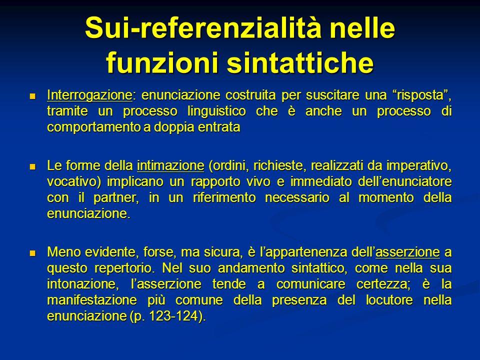 """Sui-referenzialità nelle funzioni sintattiche Interrogazione: enunciazione costruita per suscitare una """"risposta"""", tramite un processo linguistico che"""