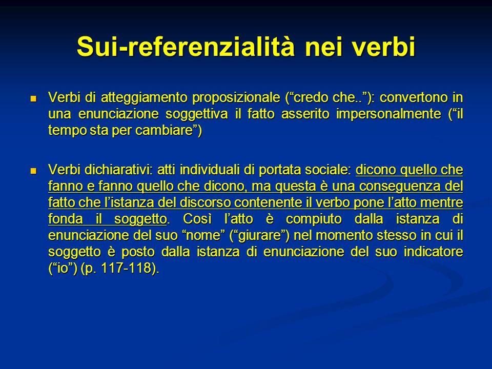 """Sui-referenzialità nei verbi Verbi di atteggiamento proposizionale (""""credo che..""""): convertono in una enunciazione soggettiva il fatto asserito impers"""