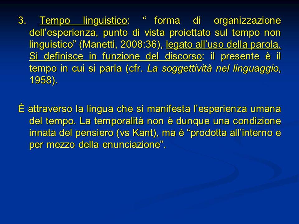 """3. Tempo linguistico: """"forma di organizzazione dell'esperienza, punto di vista proiettato sul tempo non linguistico"""" (Manetti, 2008:36), legato all'us"""