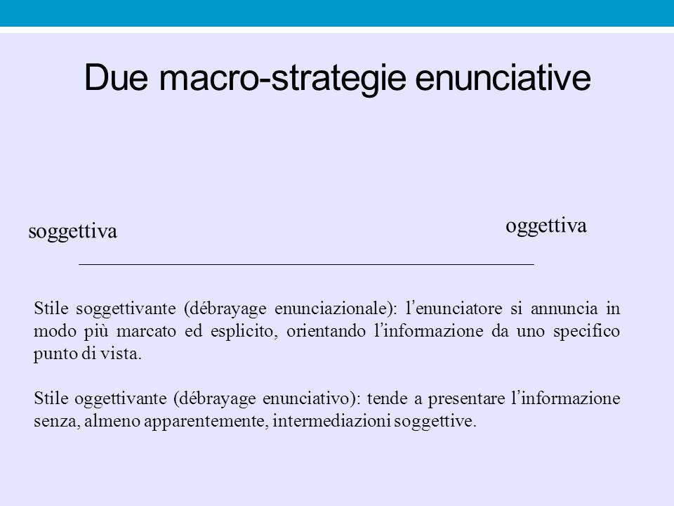 Due macro-strategie enunciative soggettiva oggettiva Stile soggettivante (débrayage enunciazionale): l ' enunciatore si annuncia in modo più marcato ed esplicito, orientando l ' informazione da uno specifico punto di vista.