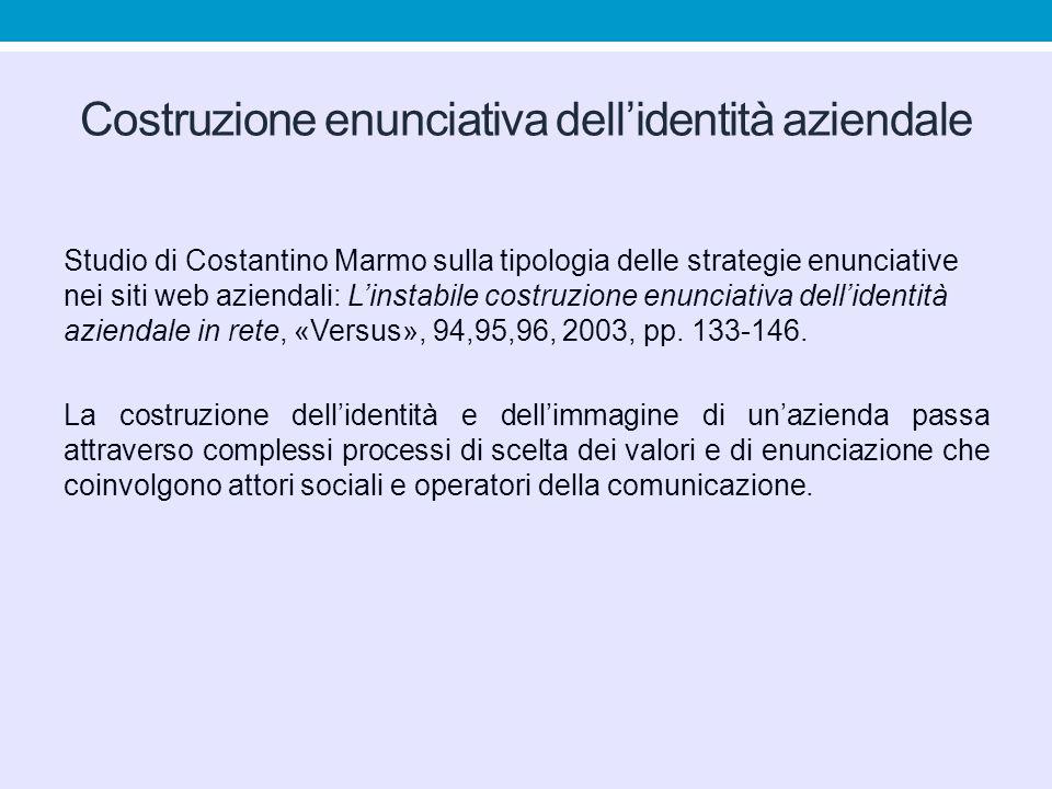 Costruzione enunciativa dell'identità aziendale Studio di Costantino Marmo sulla tipologia delle strategie enunciative nei siti web aziendali: L'instabile costruzione enunciativa dell'identità aziendale in rete, «Versus», 94,95,96, 2003, pp.