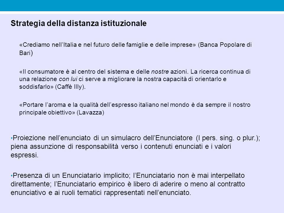 Strategia della distanza istituzionale «Crediamo nell'Italia e nel futuro delle famiglie e delle imprese» (Banca Popolare di Bari ) «Il consumatore è al centro del sistema e delle nostre azioni.
