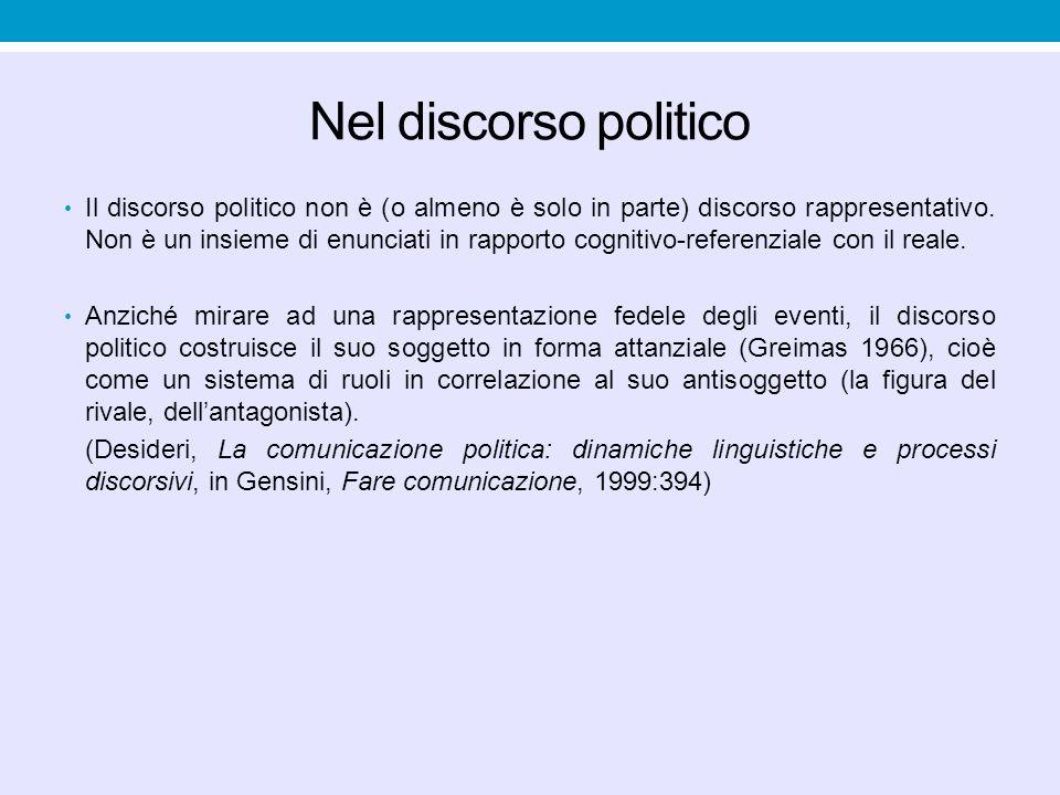 Nel discorso politico Il discorso politico non è (o almeno è solo in parte) discorso rappresentativo.