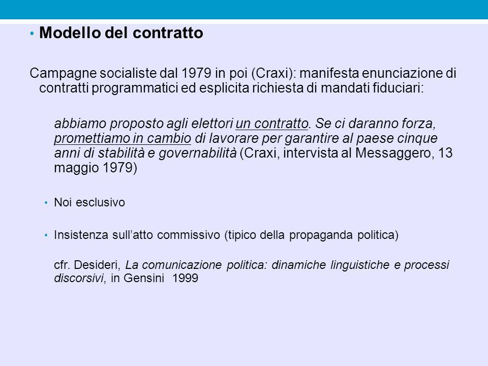 Modello del contratto Campagne socialiste dal 1979 in poi (Craxi): manifesta enunciazione di contratti programmatici ed esplicita richiesta di mandati fiduciari: abbiamo proposto agli elettori un contratto.