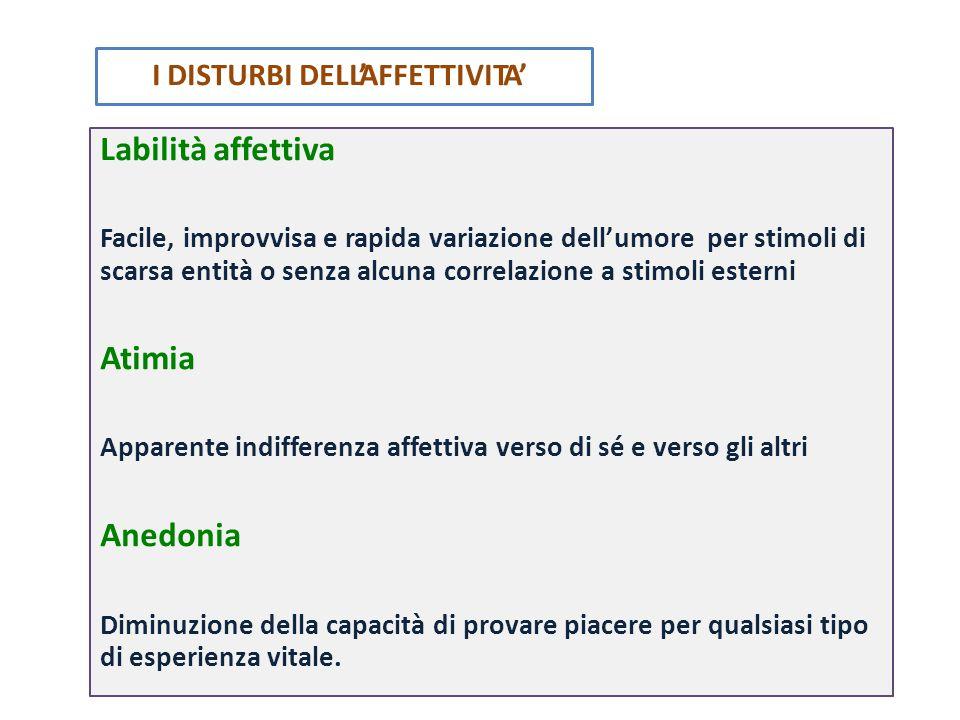 Labilità affettiva Facile, improvvisa e rapida variazione dell'umore per stimoli di scarsa entità o senza alcuna correlazione a stimoli esterni Atimia