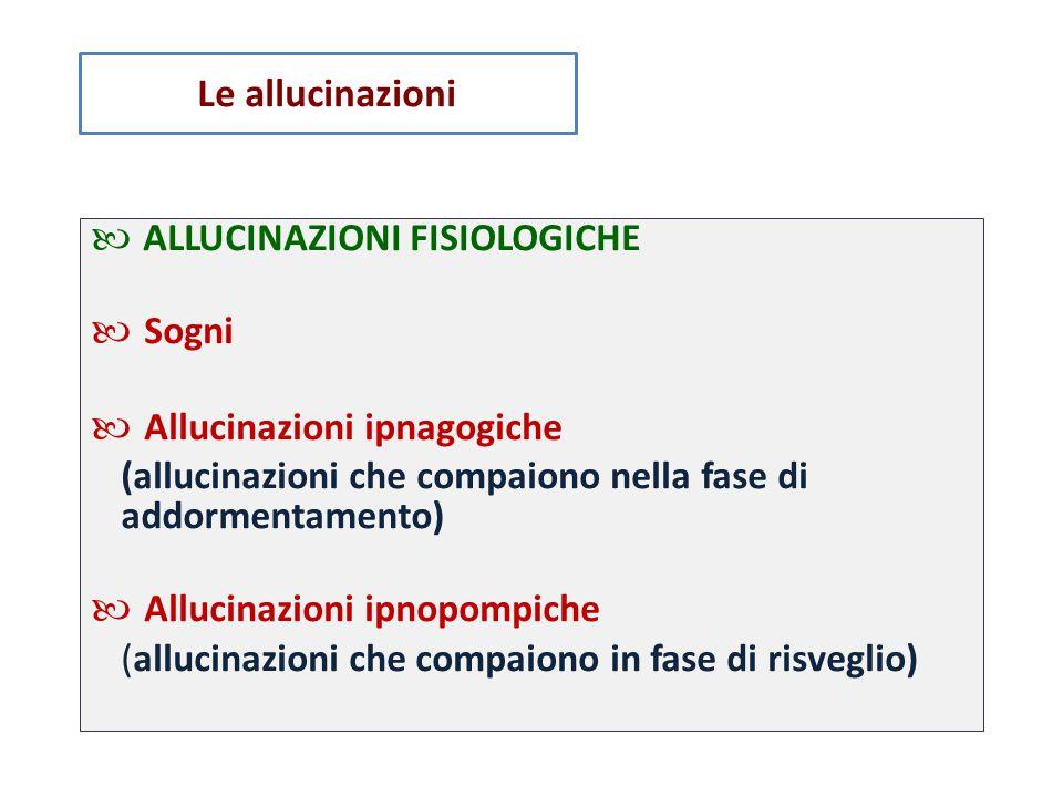 PSICHIATRICI tumori cerebrali, (uditive) epilessie ALLUCINAZIONI IN STATI PATOLOGICI NON ◦ Allucinazioni uditive dell'otite ◦ Allucinazioni visive del glaucoma ◦ Allucinazioni in corso di patologie del SNC, quali ◦ Allucinazioni da uso di LSD (visive), amfetamina Le allucinazioni