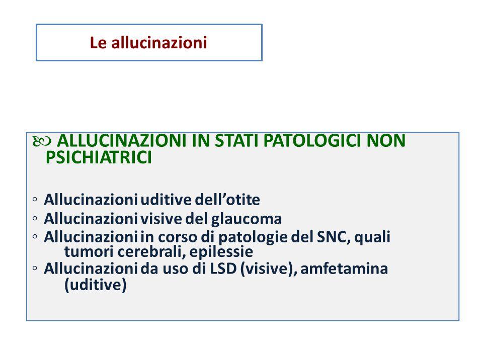 PSICHIATRICI tumori cerebrali, (uditive) epilessie ALLUCINAZIONI IN STATI PATOLOGICI NON ◦ Allucinazioni uditive dell'otite ◦ Allucinazioni visive del