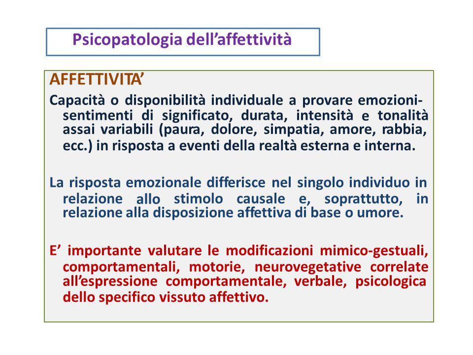 interni, che prescindono dalla volontà e a cui conseguono reazioni componente somatica, una psichica e una comportamentale.