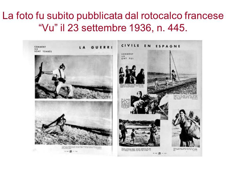 """La foto fu subito pubblicata dal rotocalco francese """"Vu"""" il 23 settembre 1936, n. 445."""