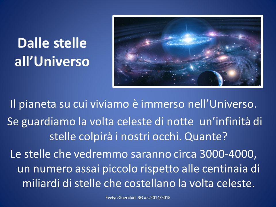 Dalle stelle all'Universo Il pianeta su cui viviamo è immerso nell'Universo. Se guardiamo la volta celeste di notte un'infinità di stelle colpirà i no