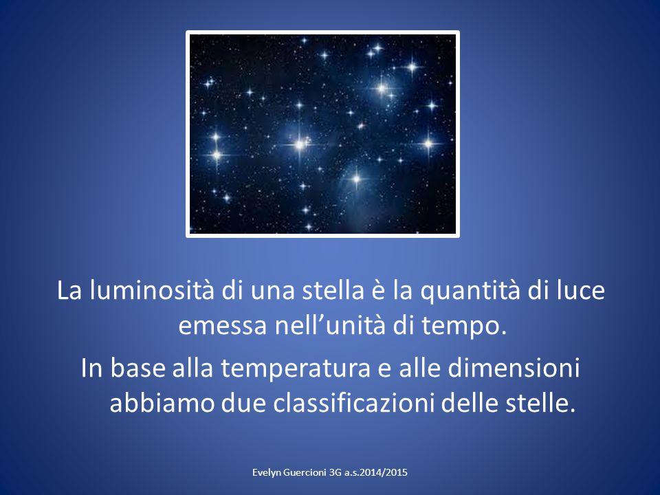 La luminosità di una stella è la quantità di luce emessa nell'unità di tempo. In base alla temperatura e alle dimensioni abbiamo due classificazioni d
