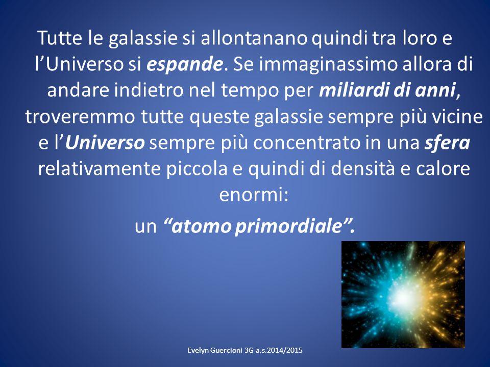 Evelyn Guercioni 3G a.s.2014/2015 Tutte le galassie si allontanano quindi tra loro e l'Universo si espande. Se immaginassimo allora di andare indietro