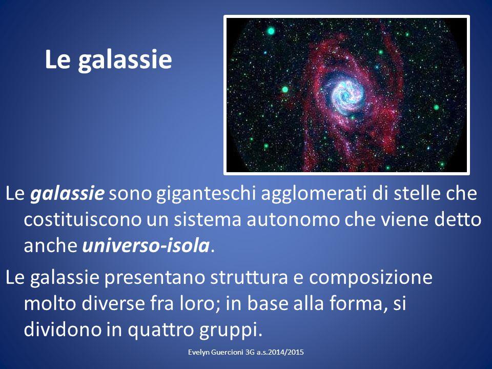 Le galassie Le galassie sono giganteschi agglomerati di stelle che costituiscono un sistema autonomo che viene detto anche universo-isola. Le galassie