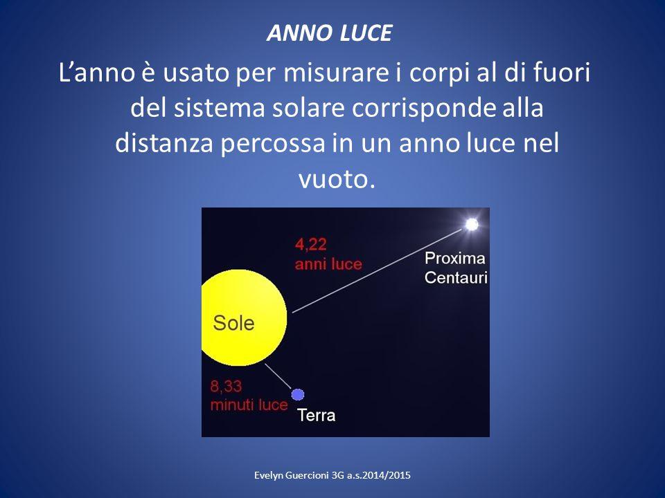 ANNO LUCE L'anno è usato per misurare i corpi al di fuori del sistema solare corrisponde alla distanza percossa in un anno luce nel vuoto. Evelyn Guer