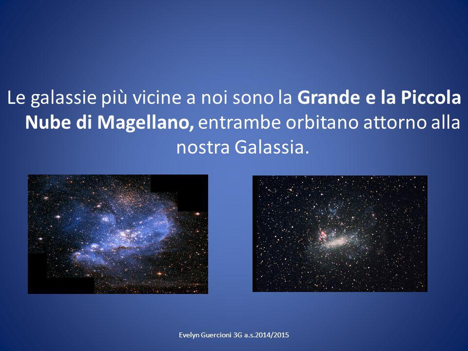 Le galassie più vicine a noi sono la Grande e la Piccola Nube di Magellano, entrambe orbitano attorno alla nostra Galassia. Evelyn Guercioni 3G a.s.20