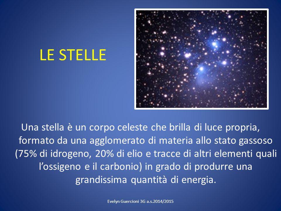 LE STELLE Una stella è un corpo celeste che brilla di luce propria, formato da una agglomerato di materia allo stato gassoso (75% di idrogeno, 20% di