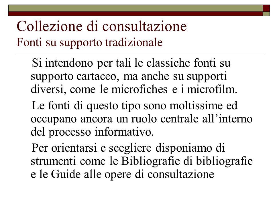 Collezione di consultazione Fonti su supporto tradizionale Si intendono per tali le classiche fonti su supporto cartaceo, ma anche su supporti diversi, come le microfiches e i microfilm.