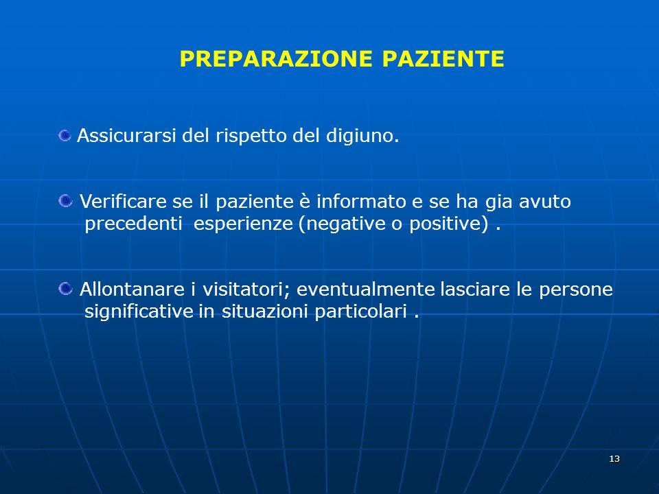 13 PREPARAZIONE PAZIENTE Assicurarsi del rispetto del digiuno. Verificare se il paziente è informato e se ha gia avuto precedenti esperienze (negative