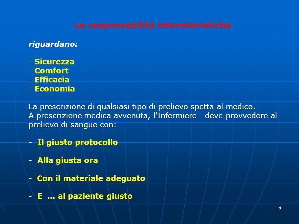 4 Le responsabilità infermieristiche riguardano: - Sicurezza - Comfort - Efficacia - Economia La prescrizione di qualsiasi tipo di prelievo spetta al