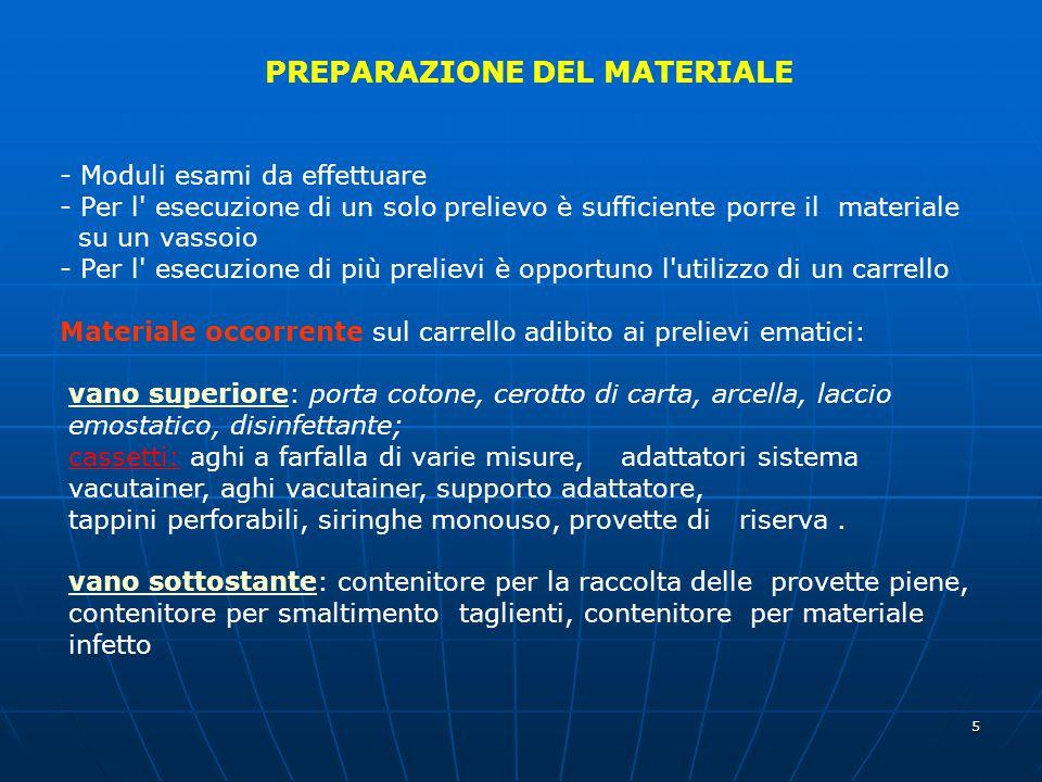 5 PREPARAZIONE DEL MATERIALE - Moduli esami da effettuare - Per l' esecuzione di un solo prelievo è sufficiente porre il materiale su un vassoio - Per