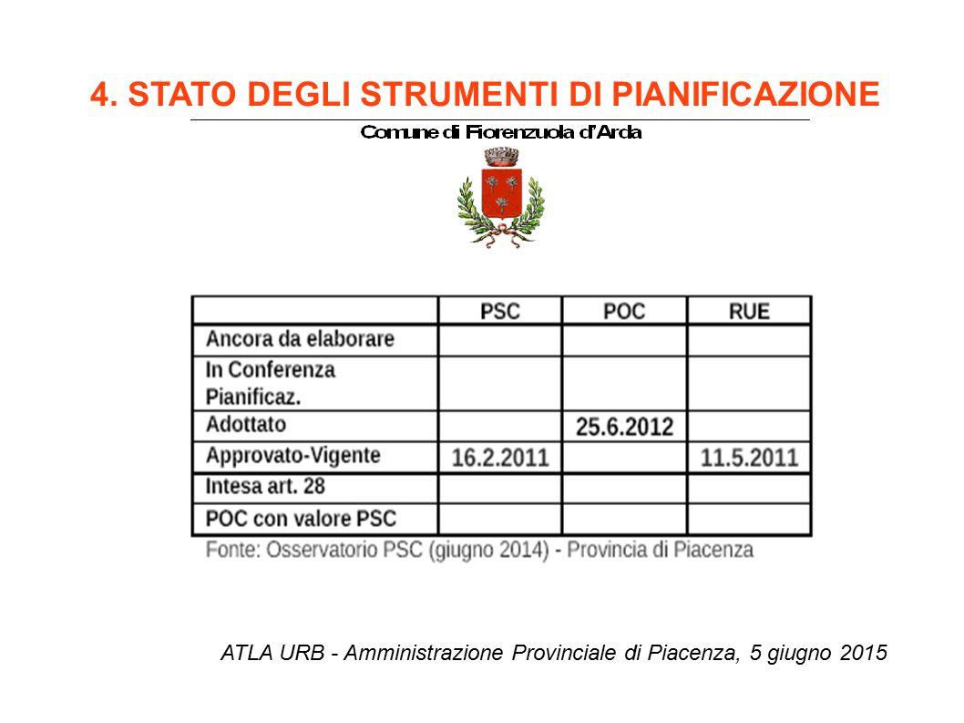 4. STATO DEGLI STRUMENTI DI PIANIFICAZIONE ATLA URB - Amministrazione Provinciale di Piacenza, 5 giugno 2015