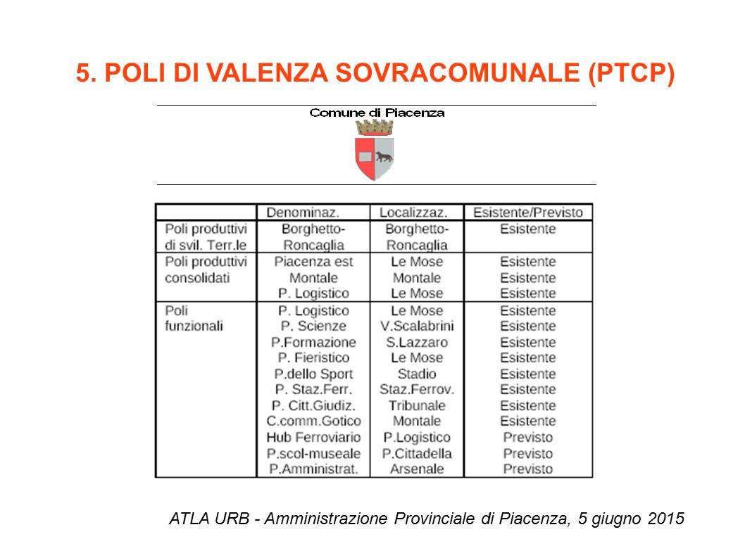5. POLI DI VALENZA SOVRACOMUNALE (PTCP) ATLA URB - Amministrazione Provinciale di Piacenza, 5 giugno 2015