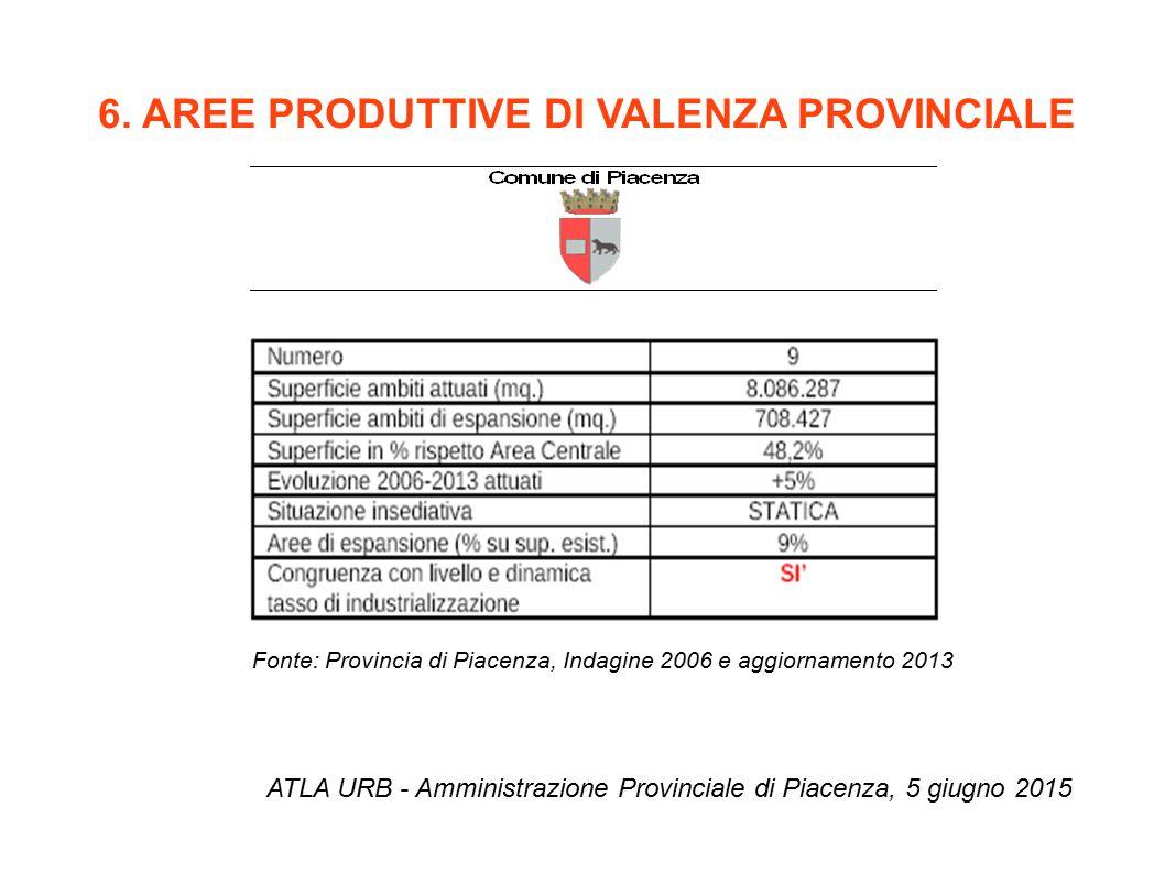 6. AREE PRODUTTIVE DI VALENZA PROVINCIALE ATLA URB - Amministrazione Provinciale di Piacenza, 5 giugno 2015 Fonte: Provincia di Piacenza, Indagine 200