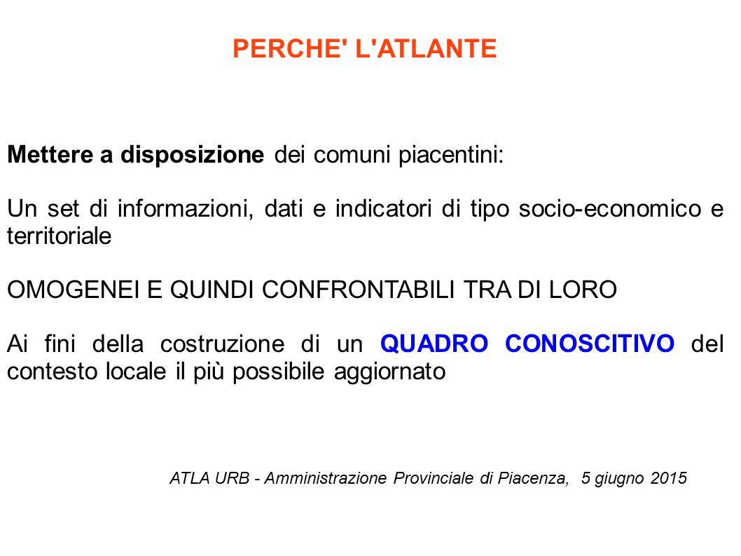 3. SISTEMA ECONOMICO ATLA URB - Amministrazione Provinciale di Piacenza, 5 giugno 2015
