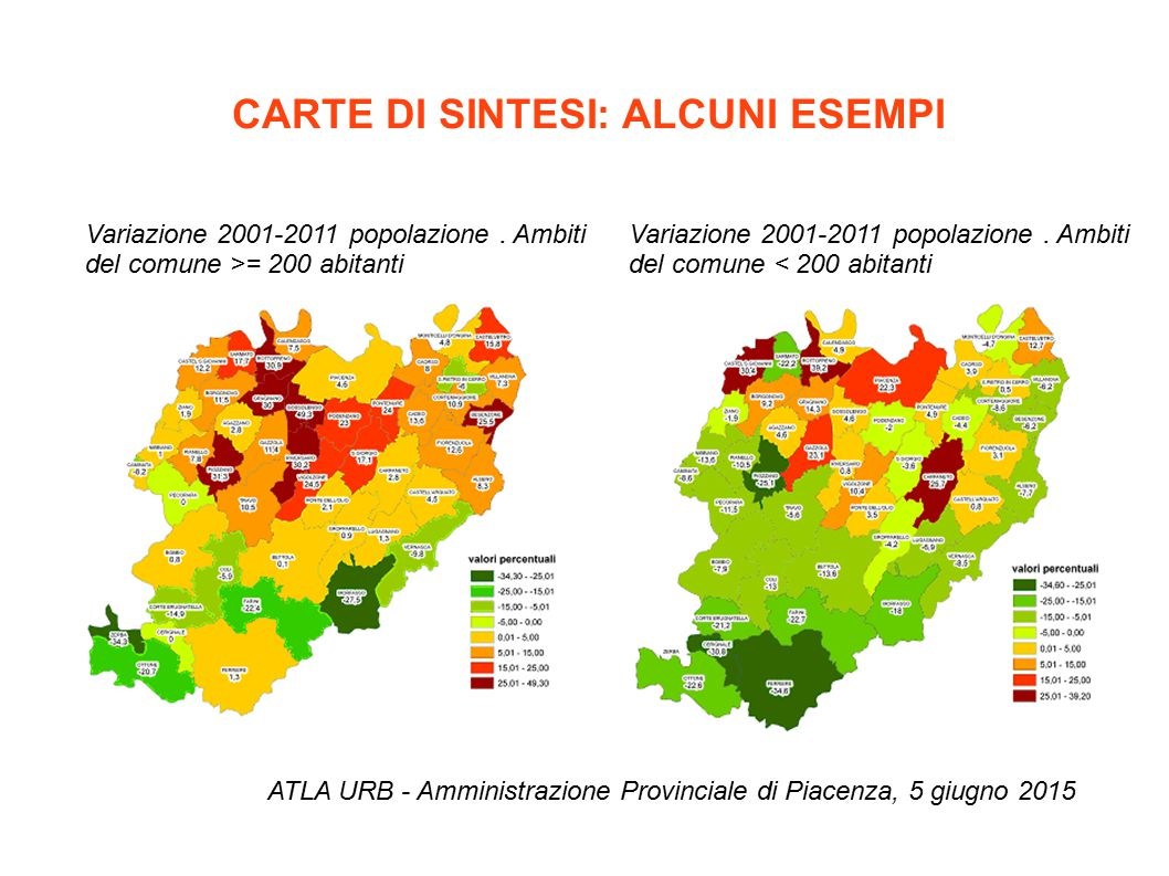 CARTE DI SINTESI: ALCUNI ESEMPI ATLA URB - Amministrazione Provinciale di Piacenza, 5 giugno 2015 Variazione 2001-2011 popolazione. Ambiti del comune