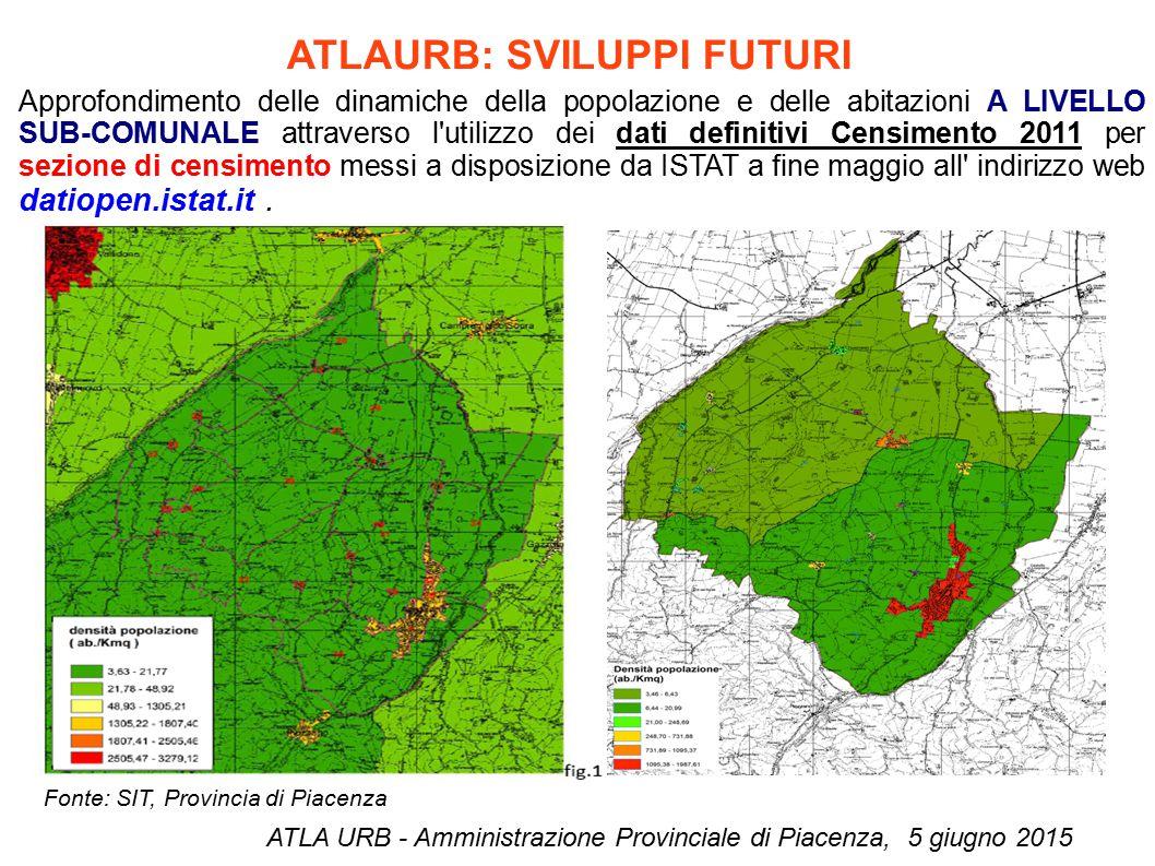 ATLAURB: SVILUPPI FUTURI ATLA URB - Amministrazione Provinciale di Piacenza, 5 giugno 2015 Approfondimento delle dinamiche della popolazione e delle a