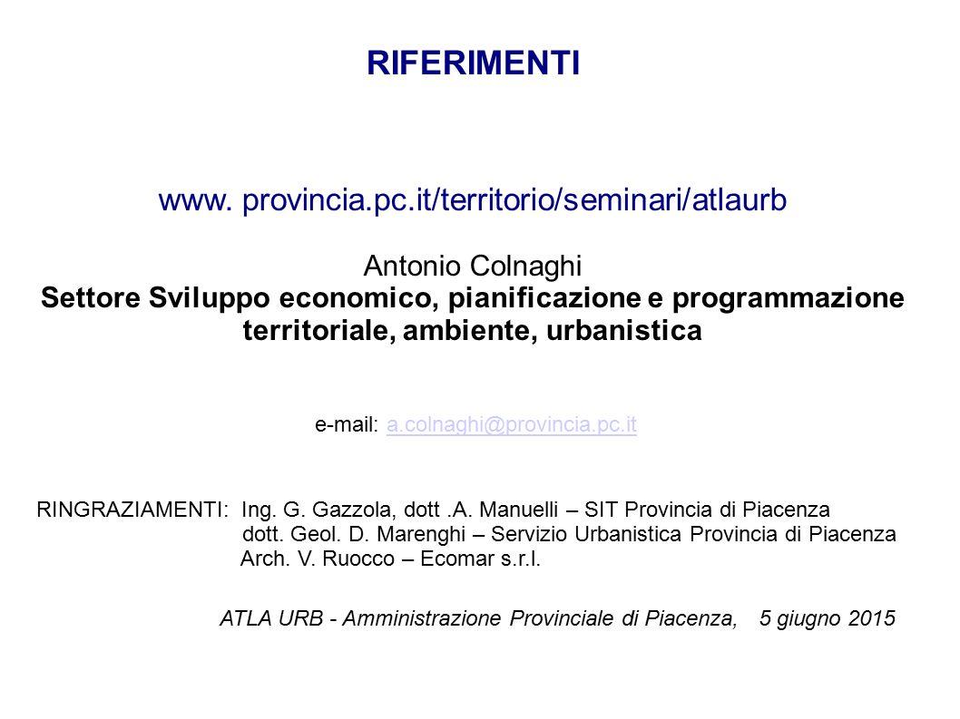 RIFERIMENTI www. provincia.pc.it/territorio/seminari/atlaurb Antonio Colnaghi Settore Sviluppo economico, pianificazione e programmazione territoriale