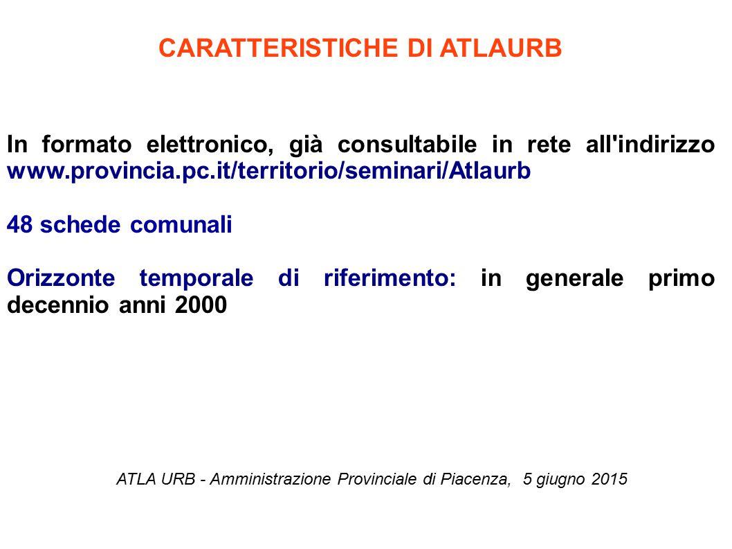 CARATTERISTICHE DI ATLAURB In formato elettronico, già consultabile in rete all'indirizzo www.provincia.pc.it/territorio/seminari/Atlaurb 48 schede co