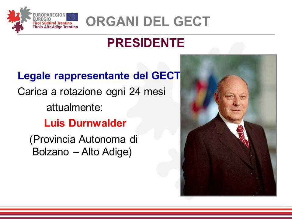 Legale rappresentante del GECT Carica a rotazione ogni 24 mesi attualmente: Luis Durnwalder (Provincia Autonoma di Bolzano – Alto Adige) ORGANI DEL GE
