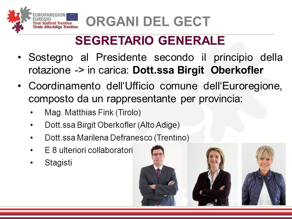 SEGRETARIO GENERALE Sostegno al Presidente secondo il principio della rotazione -> in carica: Dott.ssa Birgit Oberkofler Coordinamento dell'Ufficio co