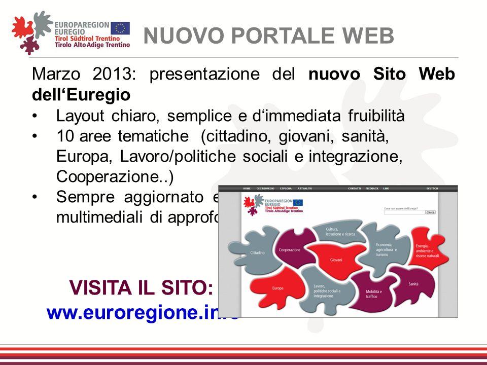 Marzo 2013: presentazione del nuovo Sito Web dell'Euregio Layout chiaro, semplice e d'immediata fruibilità 10 aree tematiche (cittadino, giovani, sani