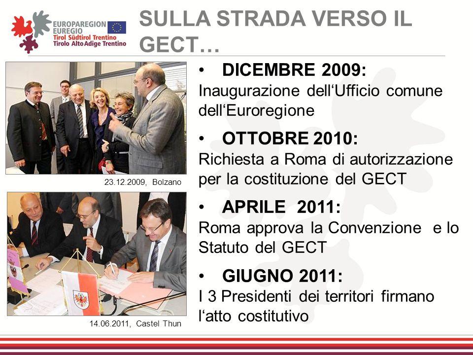 DICEMBRE 2009: Inaugurazione dell'Ufficio comune dell'Euroregione OTTOBRE 2010: Richiesta a Roma di autorizzazione per la costituzione del GECT APRILE