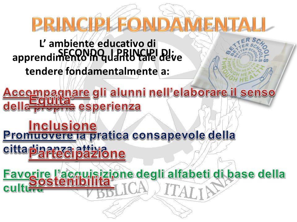 L' ambiente educativo di apprendimento in quanto tale deve tendere fondamentalmente a: - Equità - Inclusione - Partecipazione - Sostenibilità SECONDO I PRINCIPI DI: