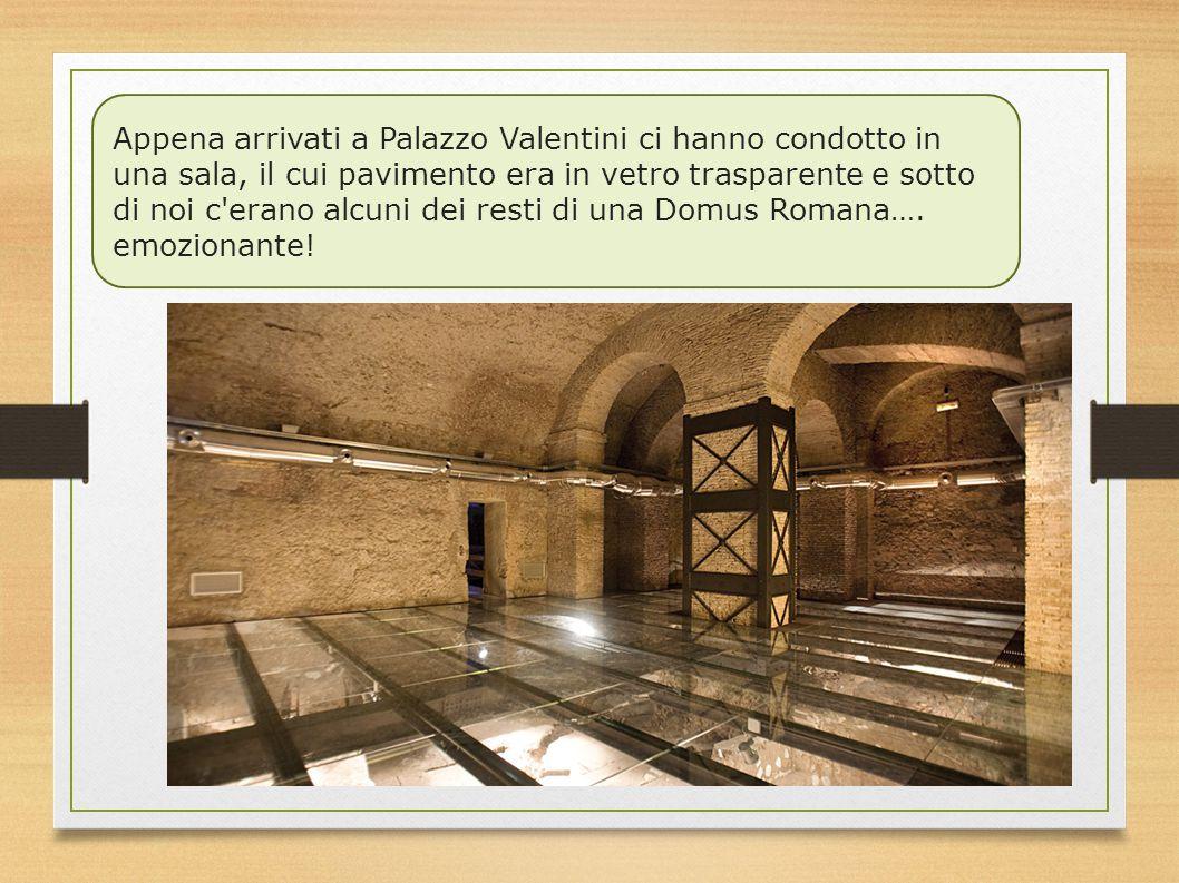Appena arrivati a Palazzo Valentini ci hanno condotto in una sala, il cui pavimento era in vetro trasparente e sotto di noi c'erano alcuni dei resti d