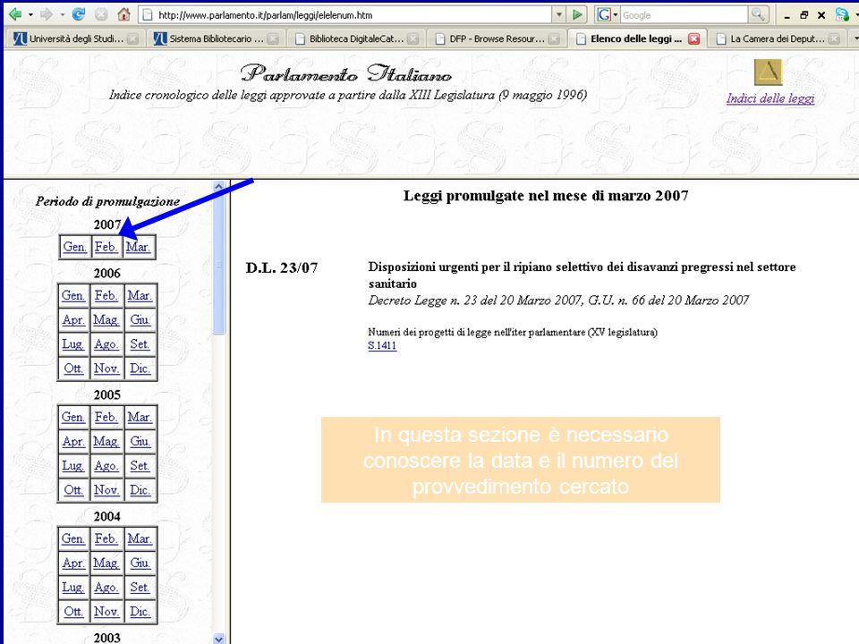In questa sezione è necessario conoscere la data e il numero del provvedimento cercato