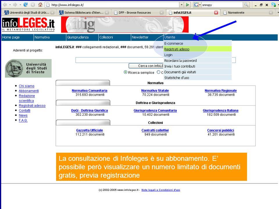 La consultazione di Infoleges è su abbonamento.