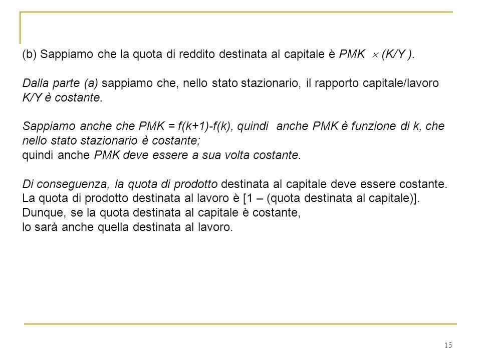 15 (b) Sappiamo che la quota di reddito destinata al capitale è PMK  (K/Y ). Dalla parte (a) sappiamo che, nello stato stazionario, il rapporto capit