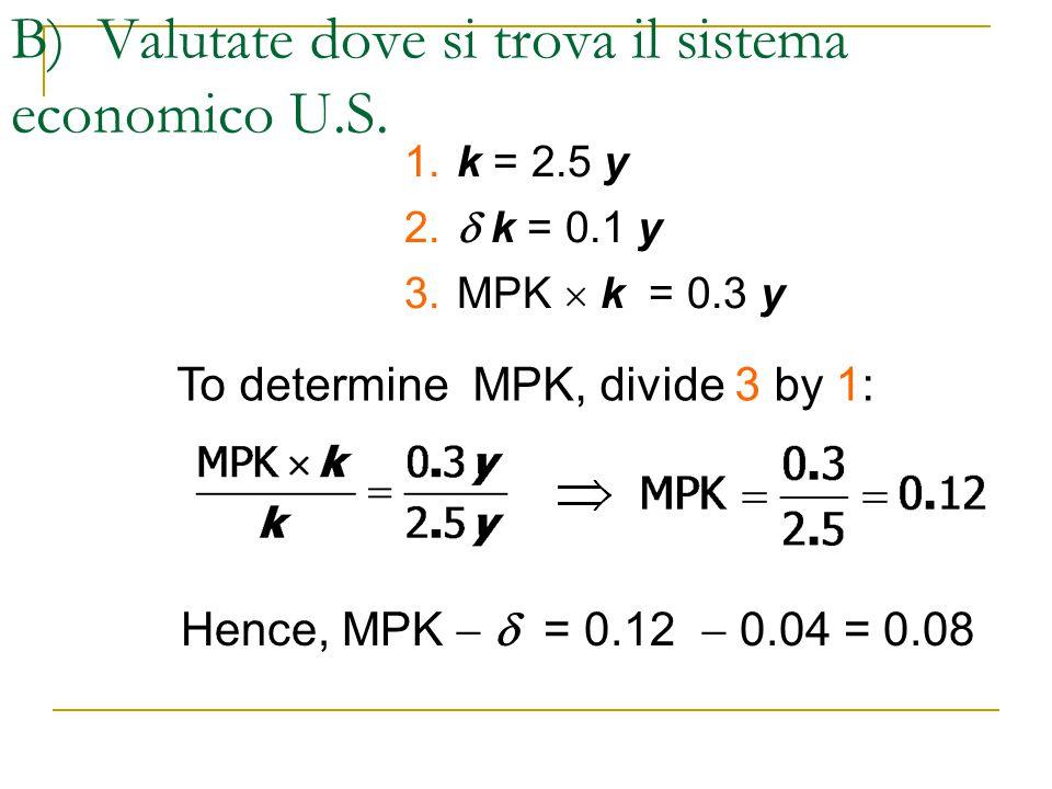 B) Valutate dove si trova il sistema economico U.S. 1. k = 2.5 y 2.  k = 0.1 y 3.MPK  k = 0.3 y To determine MPK, divide 3 by 1: Hence, MPK   = 0.