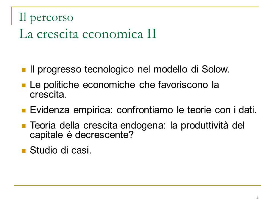 Il progresso tecnico e la crescita economica y sf(k) k L intuizione sul ruolo del progresso tecnico: un aumento della produzione a parità di K ed L, perchè questi fattori vengono utilizzati sempre meglio.
