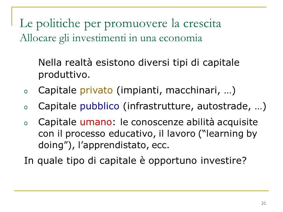 31 Nella realtà esistono diversi tipi di capitale produttivo. o Capitale privato (impianti, macchinari, …) o Capitale pubblico (infrastrutture, autost