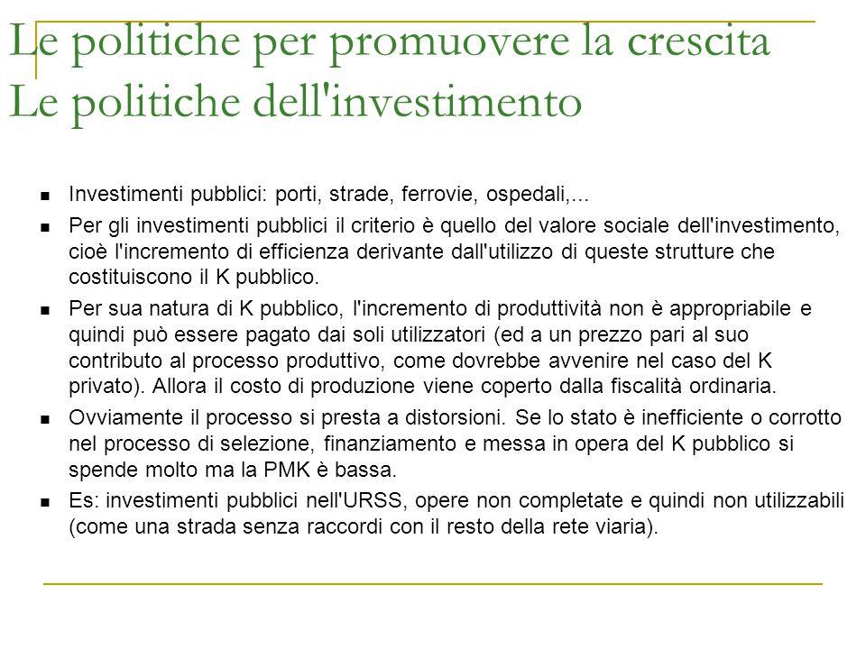 Le politiche per promuovere la crescita Le politiche dell'investimento Investimenti pubblici: porti, strade, ferrovie, ospedali,... Per gli investimen