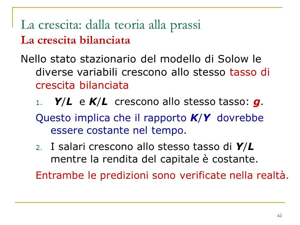 43 Nello stato stazionario del modello di Solow le diverse variabili crescono allo stesso tasso di crescita bilanciata 1. Y/L e K/L crescono allo stes